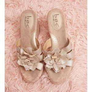 BOC Born Concept Gold Leather Flower Cork Wedges